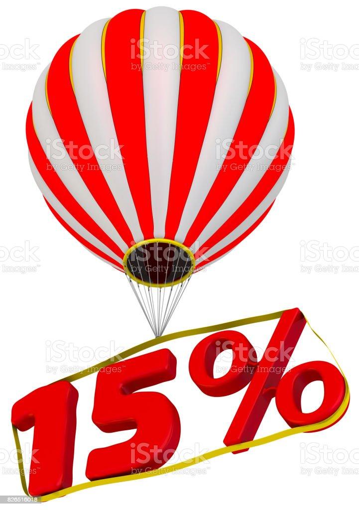 Fifteen percent flies in a hot air balloon stock photo