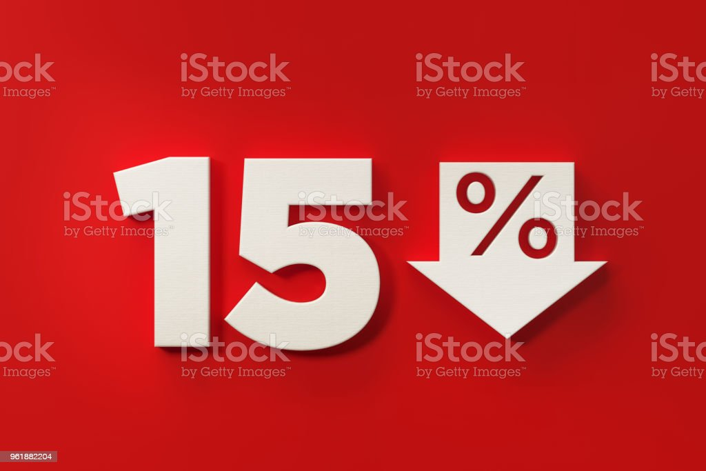 Fifteen Percent Off Discount Symbol On Red Background stock photo