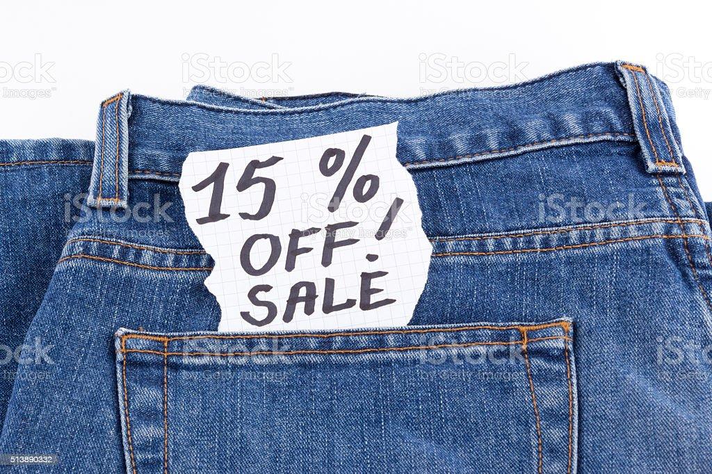 fifteen percent off sale stock photo