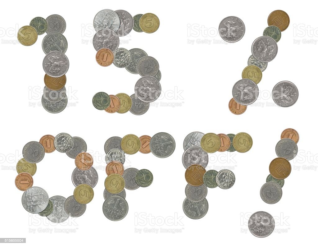 fifteen percent off with old coins stock photo