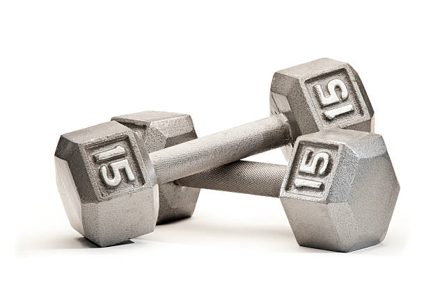 Fifteen Pound Hand Weights stock photo