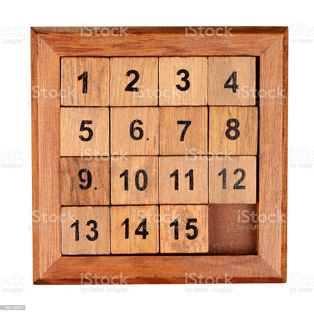 Fifteen puzzle stock photo
