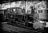 Aylsham, Norfolk, England - May 9, 2014: A tiny fifteen-inch gauge steam railway engine waiting in the station at the Bure Valley Railway depot and terminus at Aylsham. The BVR runs steam and diesel passenger trains on the 9 mile route to Wroxham in the Norfolk Broads. There are also stations at Brampton, Buxton and Coltishall. (Black and white image with added grain and vignette.)