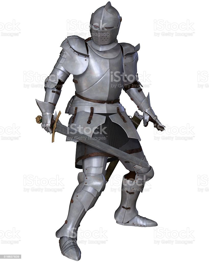 Fifteenth Century Medieval Knight in Fighting Pose stock photo