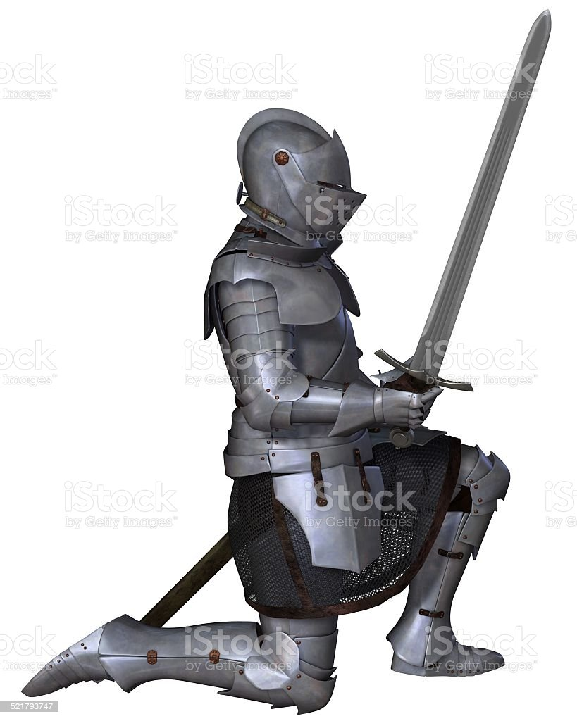Fifteenth Century Medieval Knight in Kneeling Pose stock photo