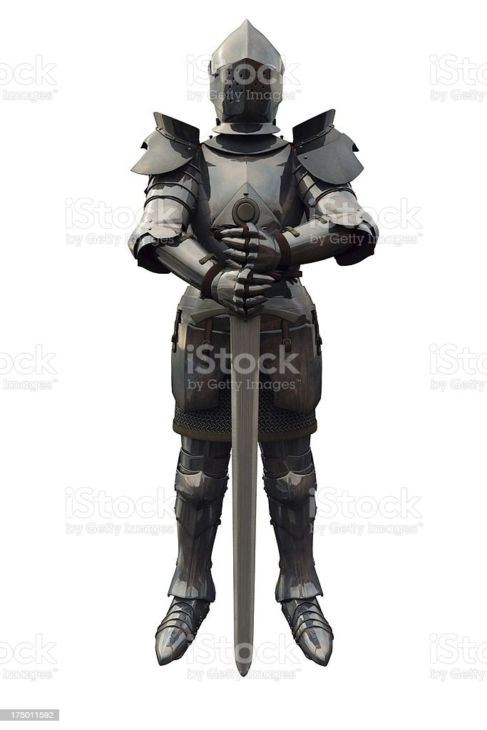 Fifteenth Century Medieval Knight with Sword stock photo