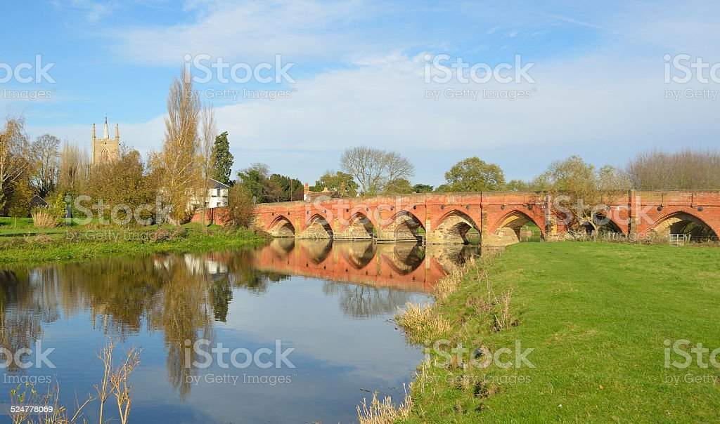Fifteenth Century Packhorse Bridge at Gt Barford Bedfordshire stock photo