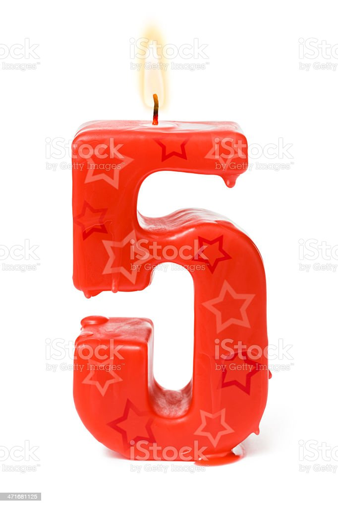 Fifth 5th birthday candle royalty-free stock photo