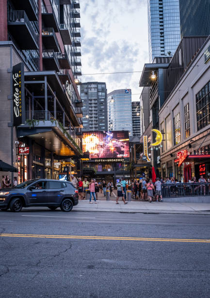 Fifth and Broadway Retail Area in Nashville stock photo