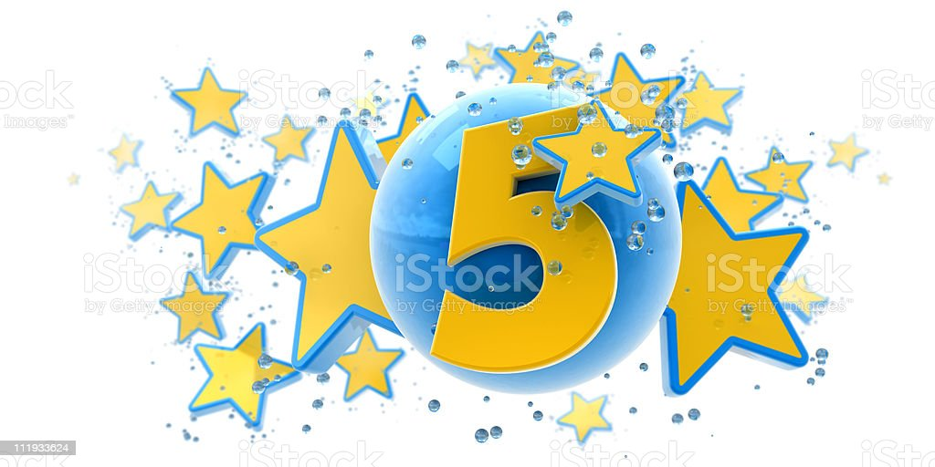 Fifth anniversary blue and yellow royalty-free stock photo