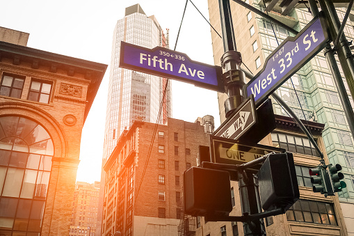 istock Fifth Ave and West 33rd sign in New York City 520971914