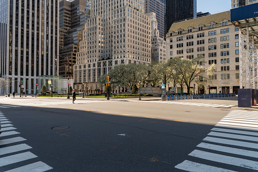 istock Fifth Avenue and Grand Army Plaza nearby Central Park is deserted despite great weather because of social distancing and stay at home order caused by COVID-19 outbreak. 1218232986
