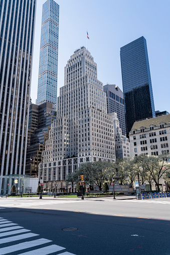 istock Fifth Avenue and Grand Army Plaza nearby Central Park is deserted despite great weather because of social distancing and stay at home order caused by COVID-19 outbreak. 1218232987