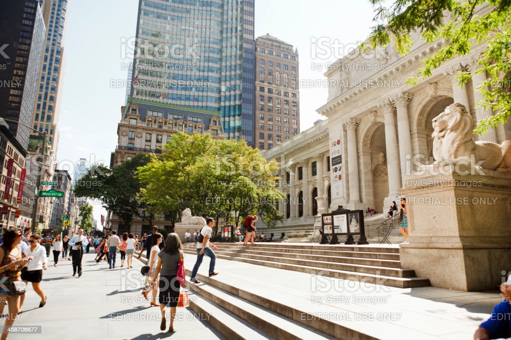 Fifth Avenue and New York Public Library Manhattan royalty-free stock photo