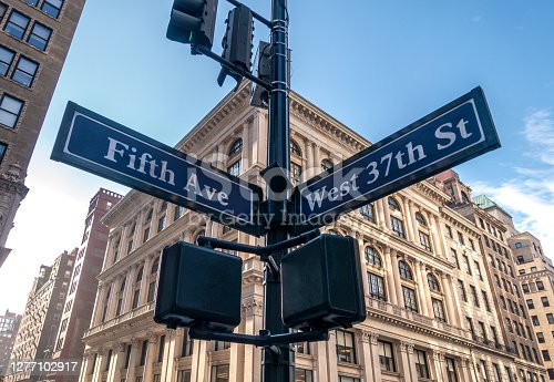 street signal of fifth Avenue and west 37th street in New York City, USA