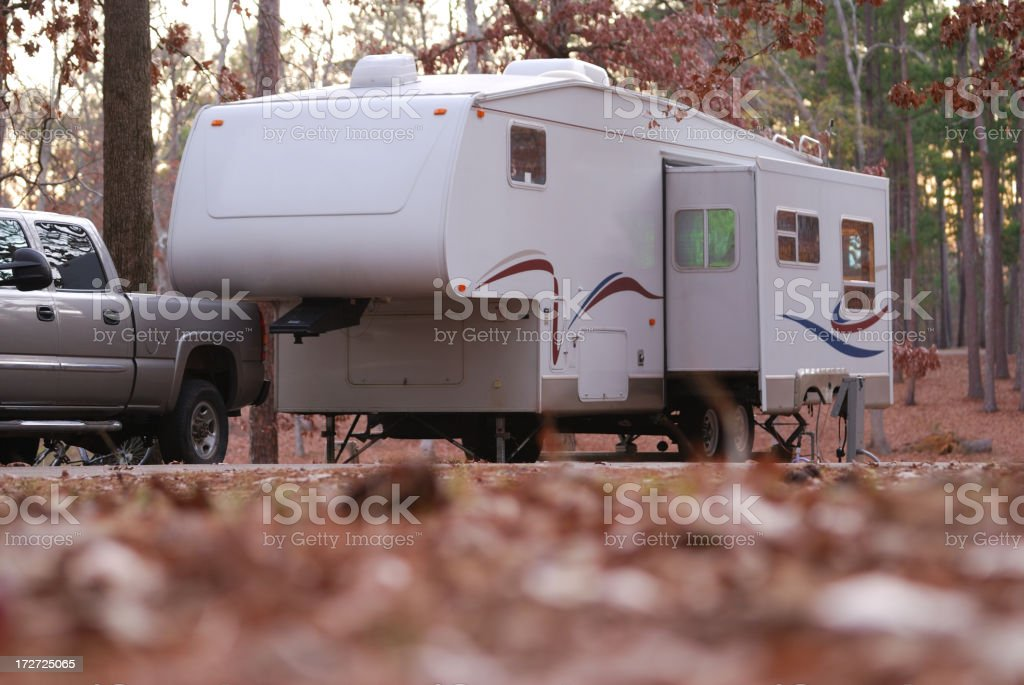Fifth wheel at campsite royalty-free stock photo