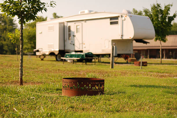 Fifth wheel at campsite stock photo