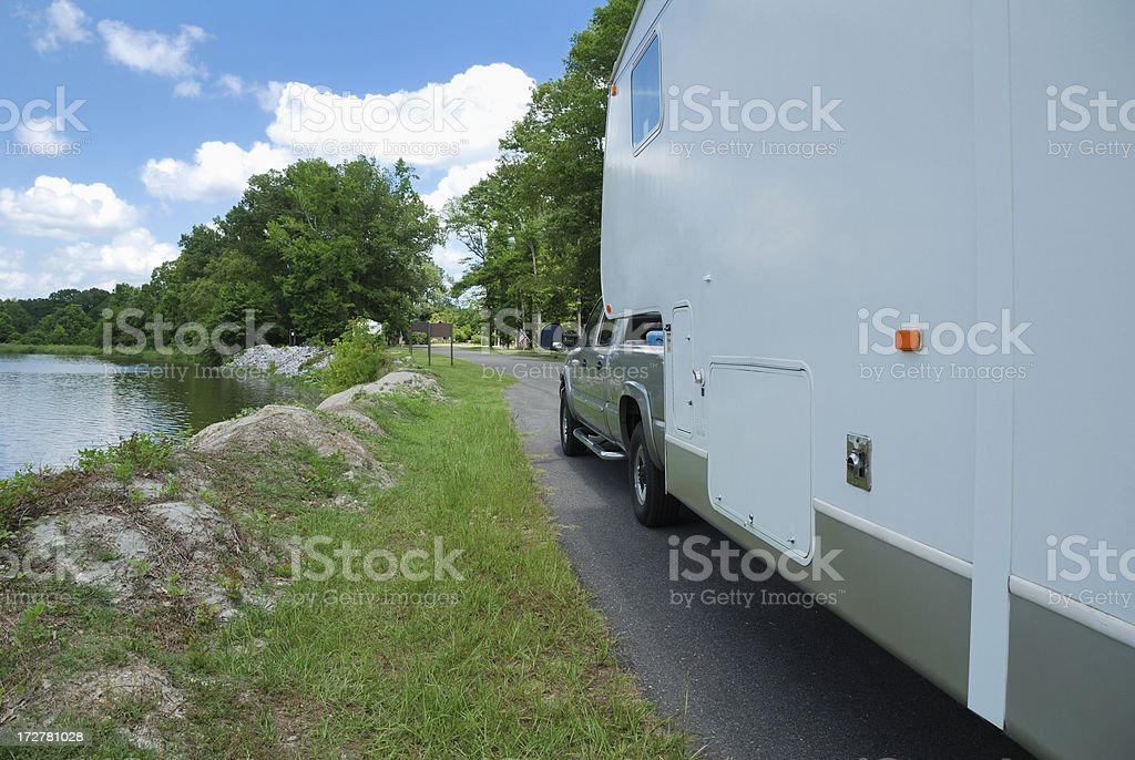Fifth wheel rv trailer stock photo