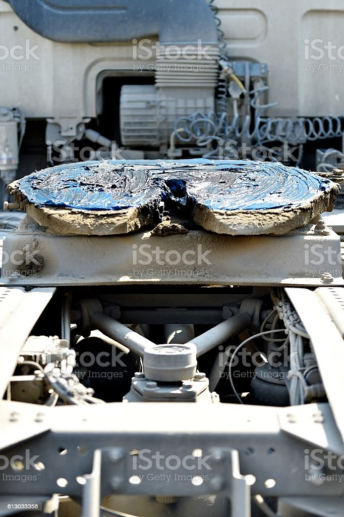 Fifth wheel truck coupling greased stock photo