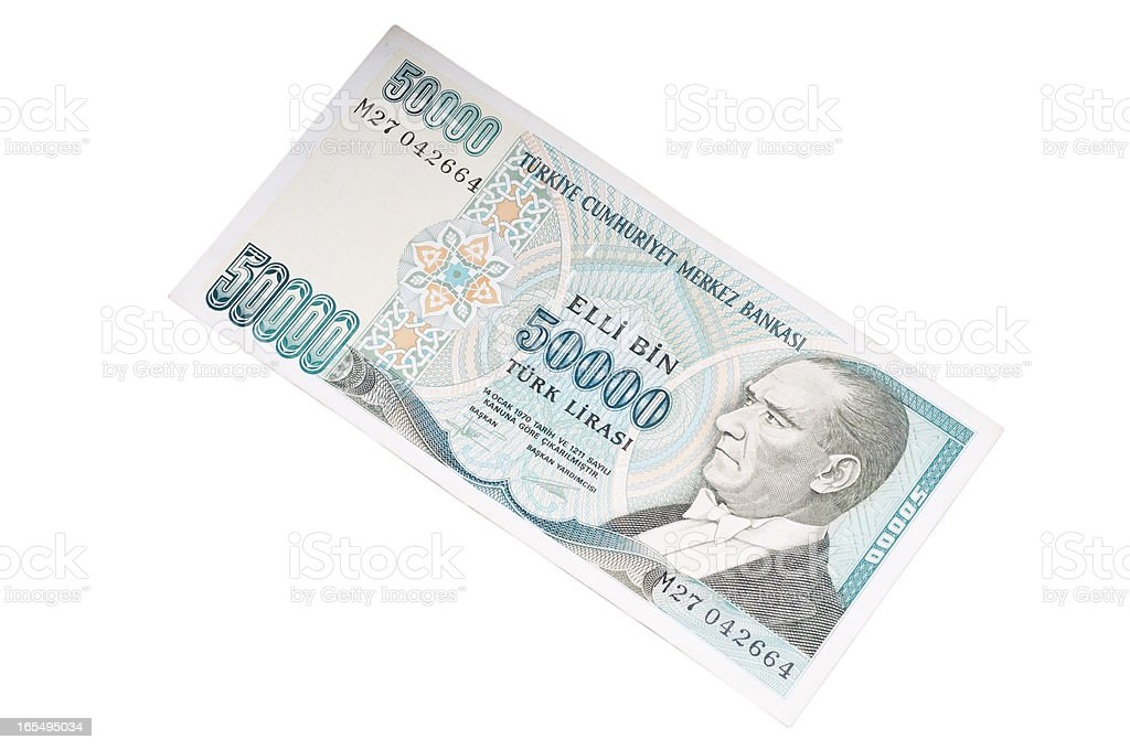 fifthy thousands  liras banknotes stock photo