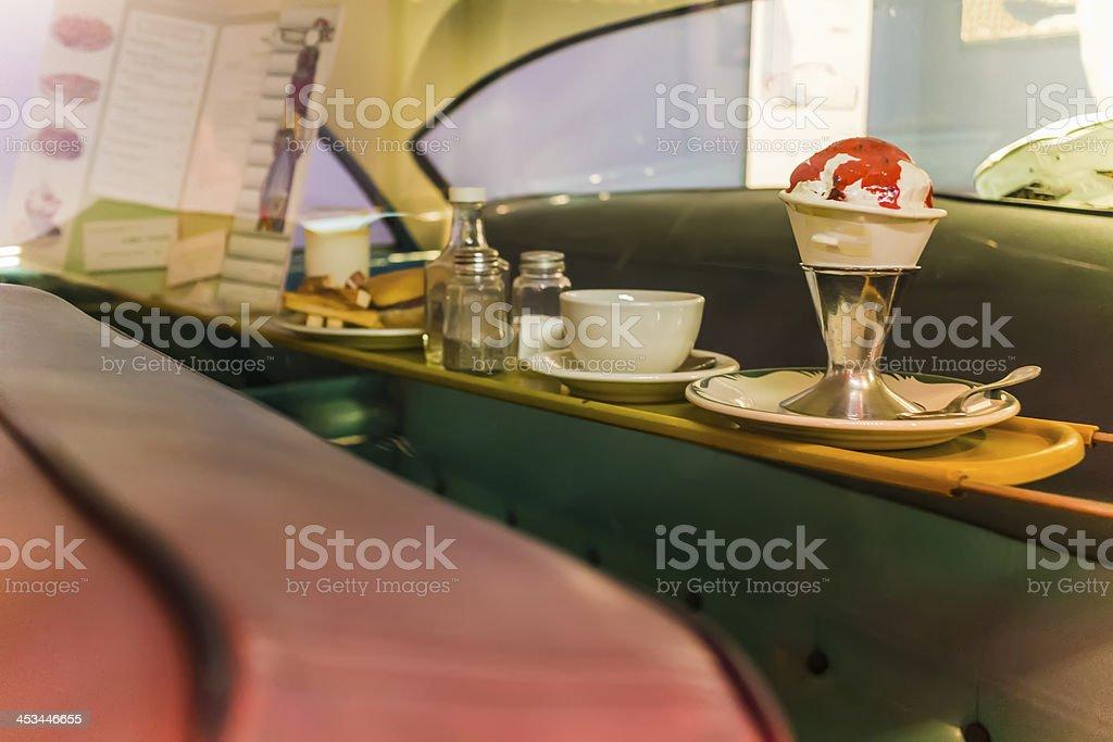 fifties backseat serving tray stock photo
