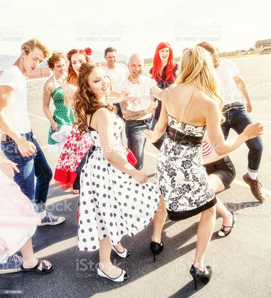 Fifties High School Dancers Party in the Parking Lot stock photo