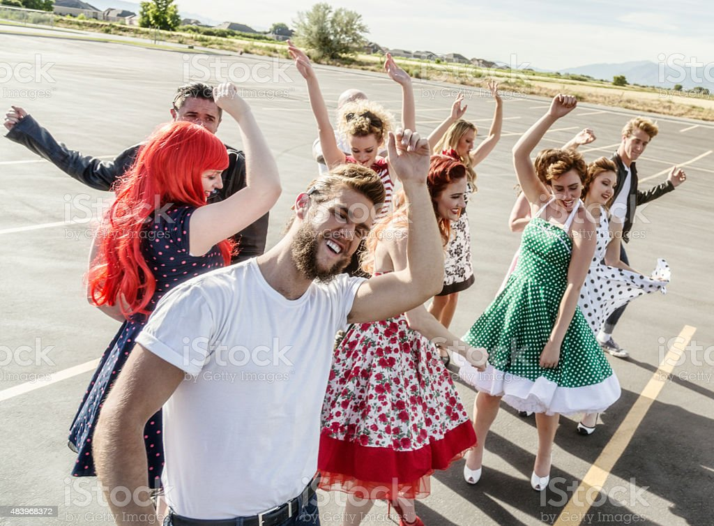 Fifties High School Graduation Party in the Parking Lot stock photo