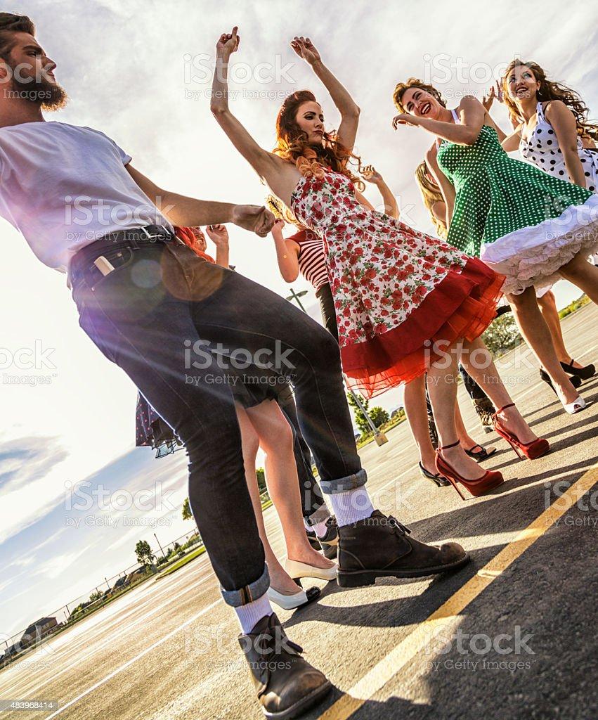 Fifties High School Graduation Sunset Dance stock photo