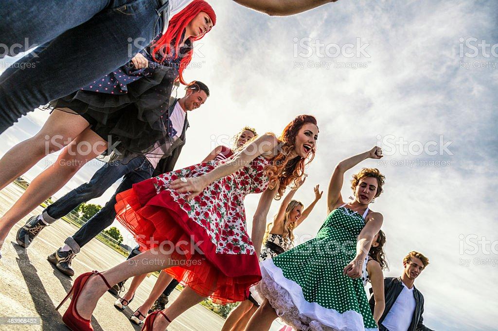 Fifties High School Sunset Dance stock photo