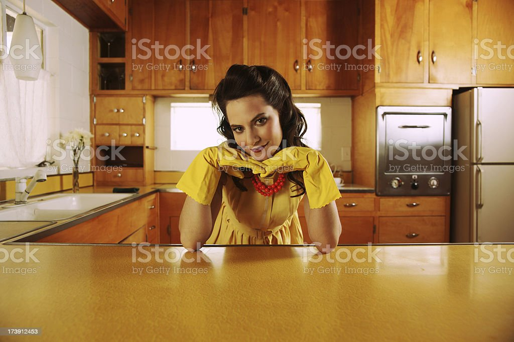 Fifties Housewife in Kitchen stock photo