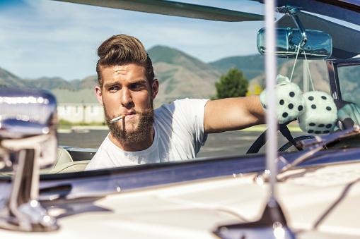 Fifties Pompadour Hair Greaser Guy Driving Convertible Car