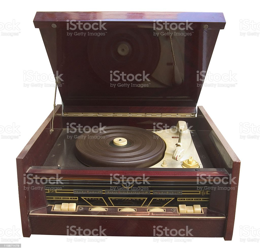 Fifties Turntable - isolated with clipping path stock photo