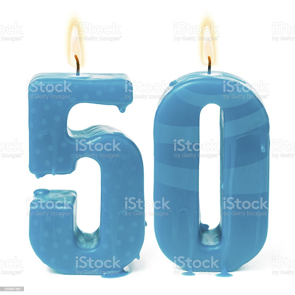 Fiftieth 50th birthday or anniversary candles stock photo