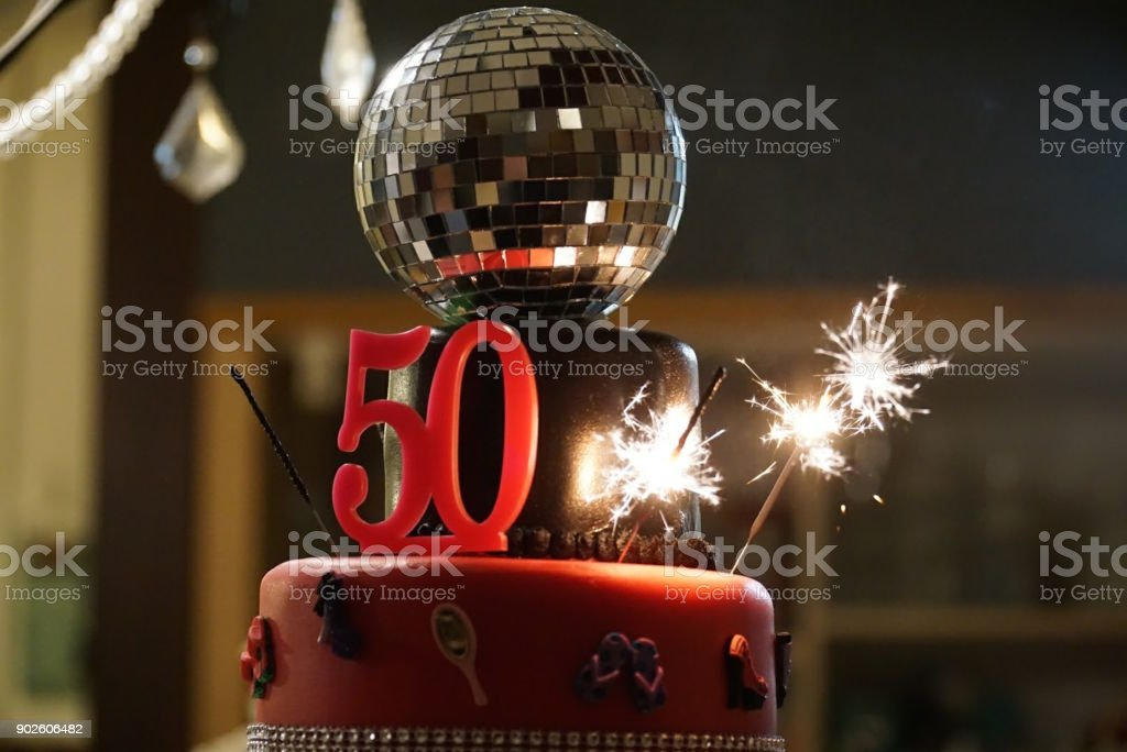 Fiftieth Birthday Cake With Sparklers
