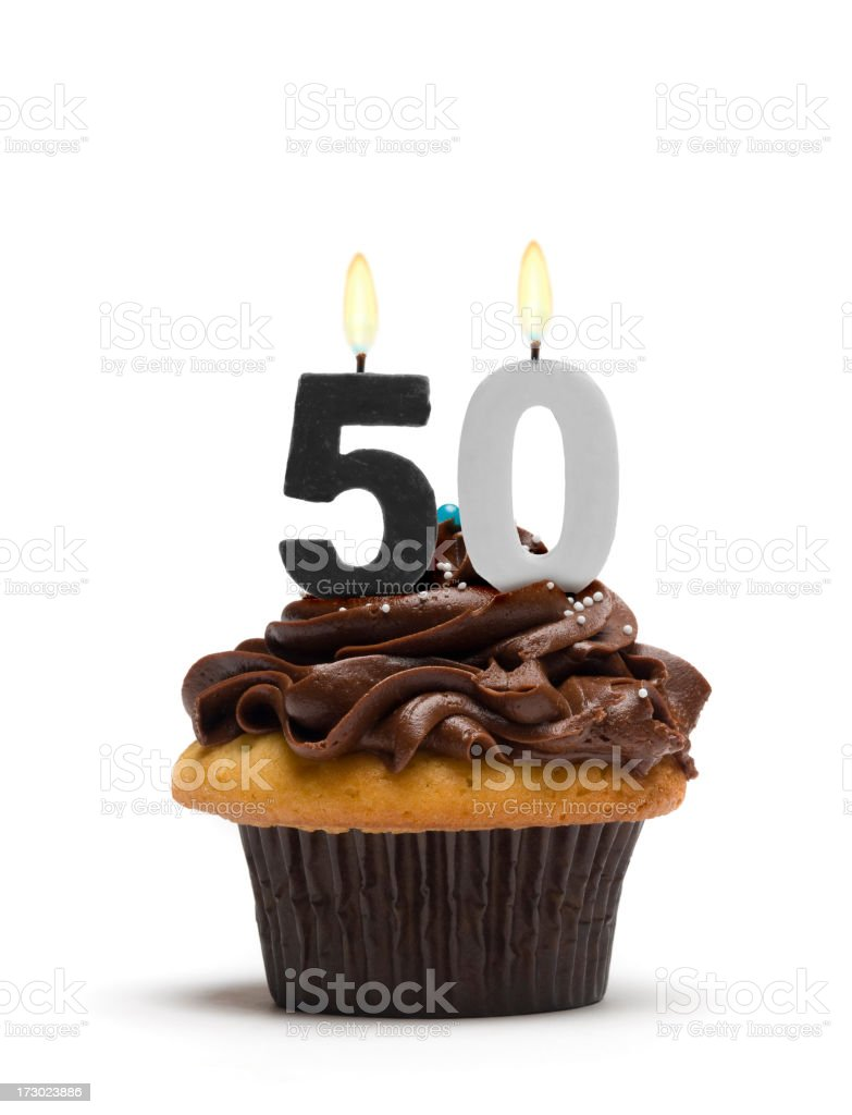Fiftieth Birthday Cupcake stock photo