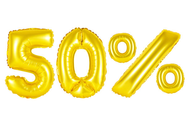 fifty 50 percent from golden balloons stock photo