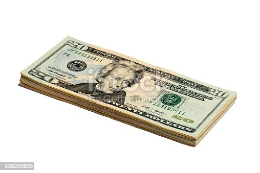 Fifty American Dollar bankroll on white background.
