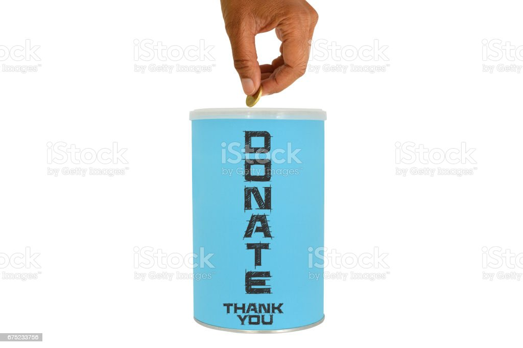 Fifty Cent Euro Donate Can stock photo