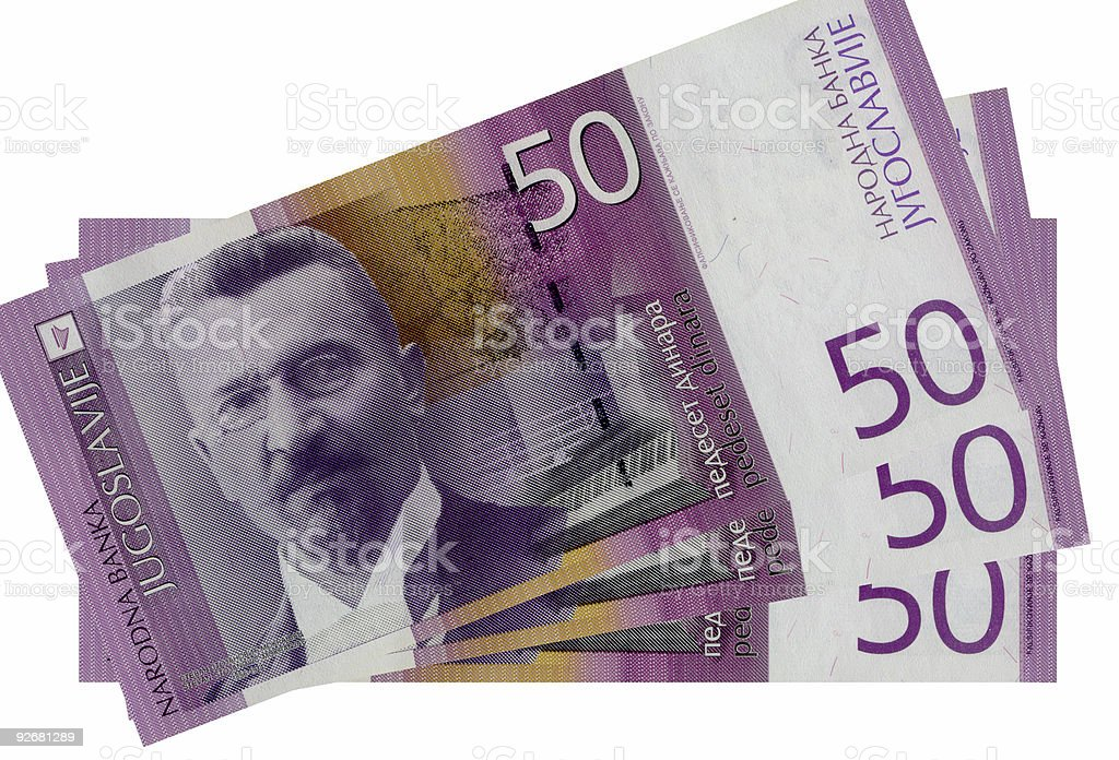 Fifty dinars front stock photo