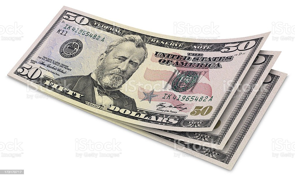 Fifty Dollar Banknotes stock photo