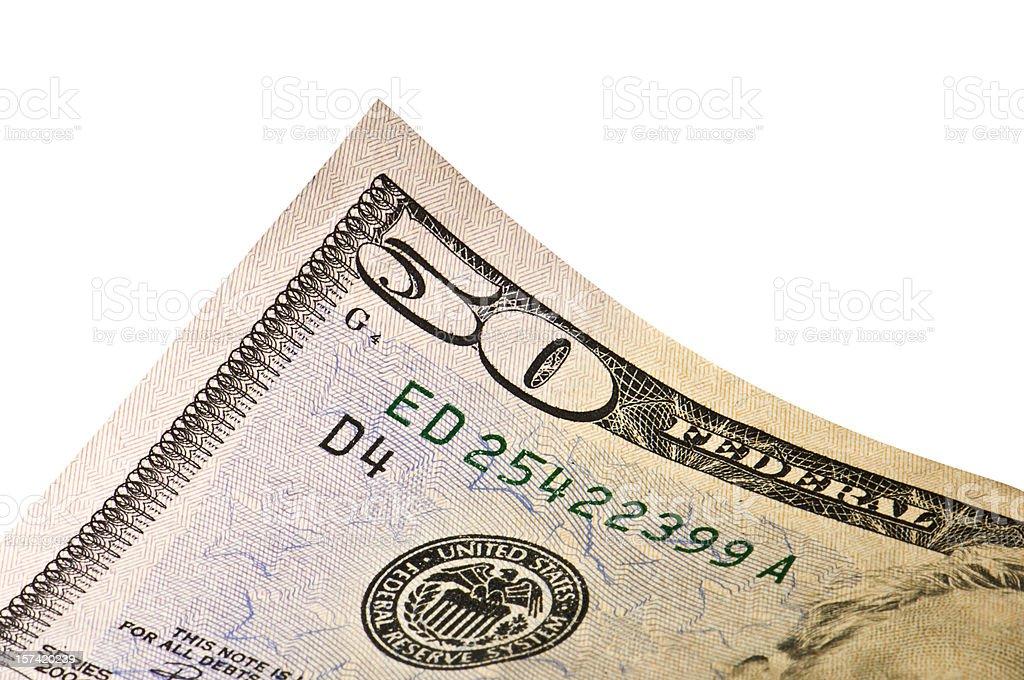 Fifty Dollar Bill Detail stock photo