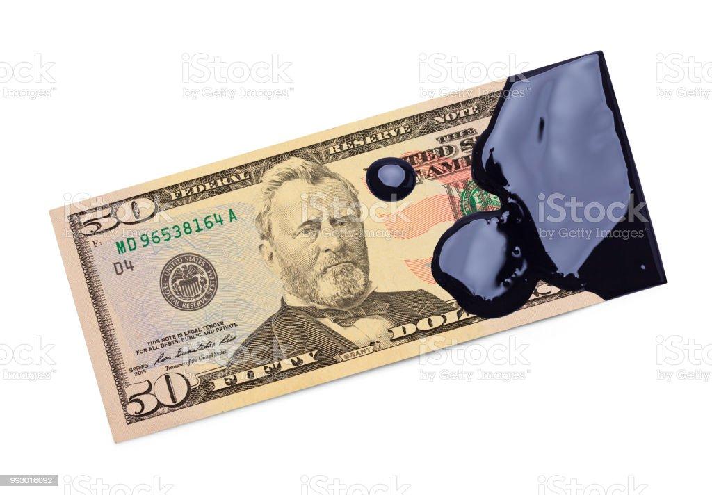 Fifty Dollar Bill Oil Money stock photo