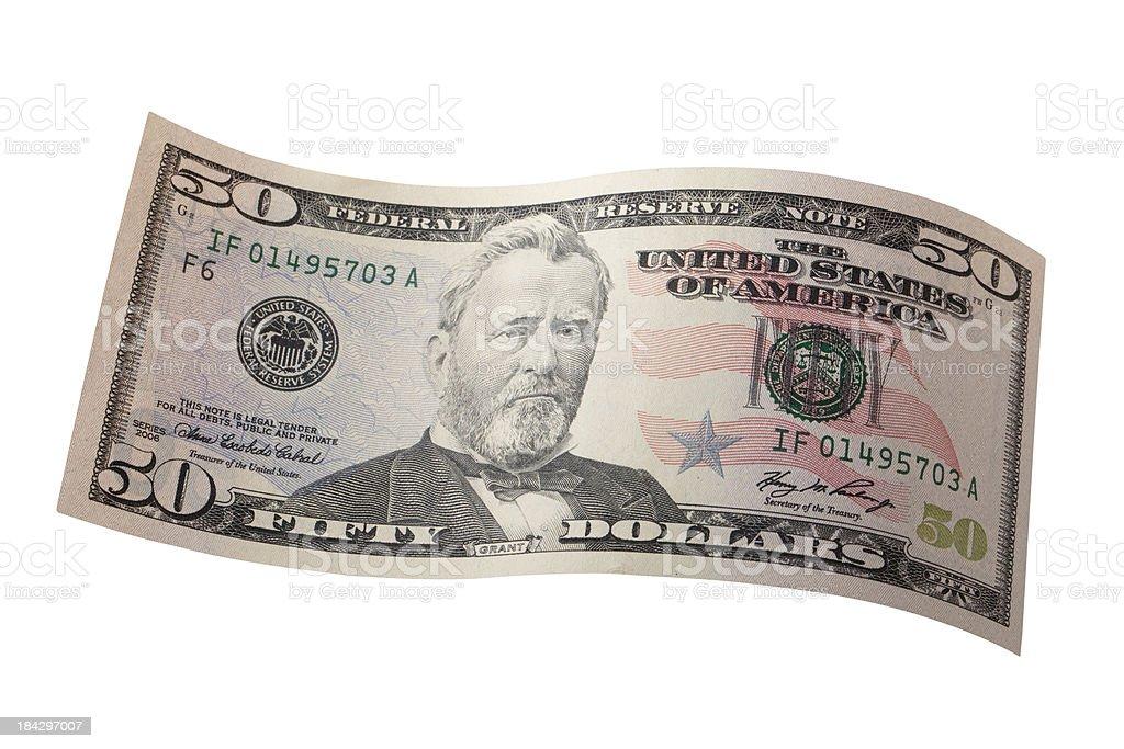 Fifty dollar bill stock photo