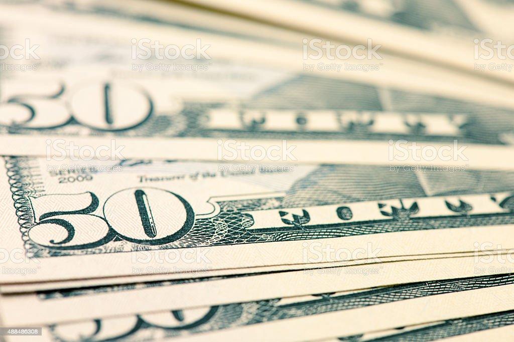 US Fifty Dollar Bill Spread stock photo