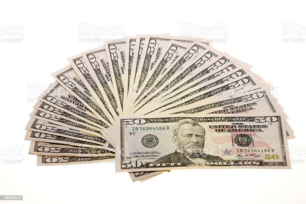 Fifty Dollar Bills Arranged in Fan stock photo