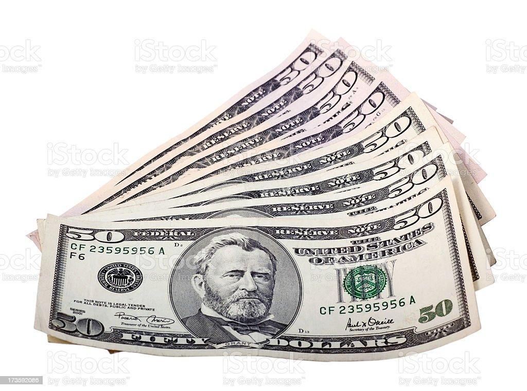 Fifty Dollar Bills Fan stock photo