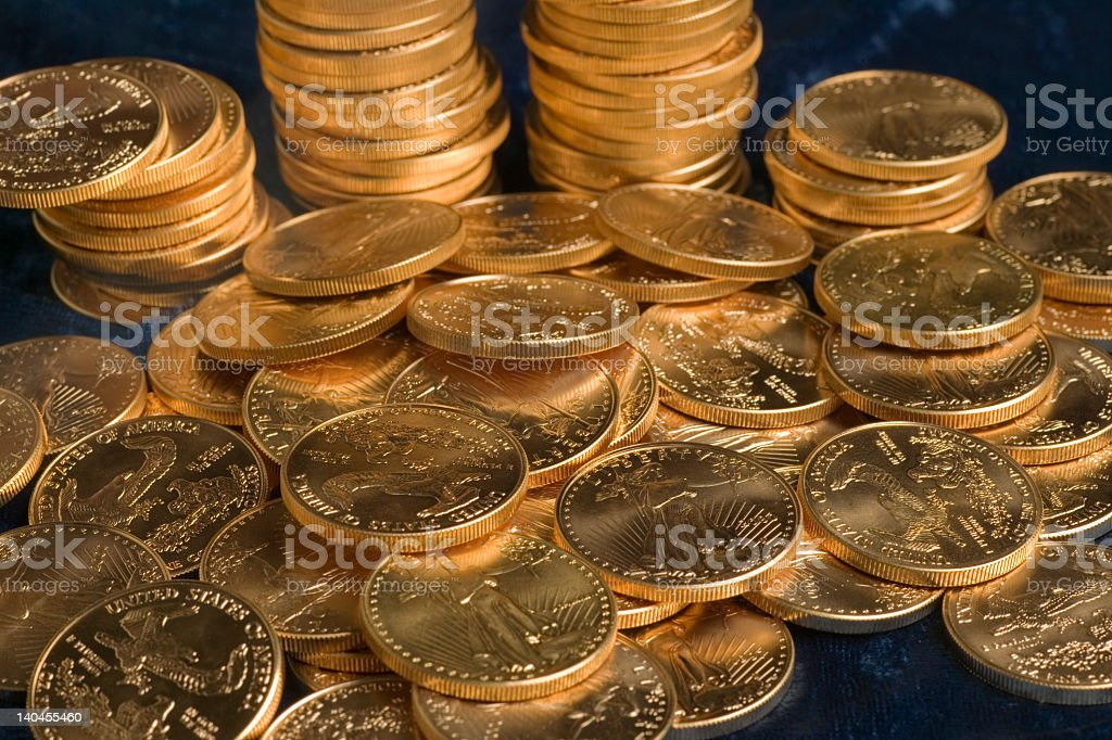 Fifty Dollar Gold Liberty Coins stock photo