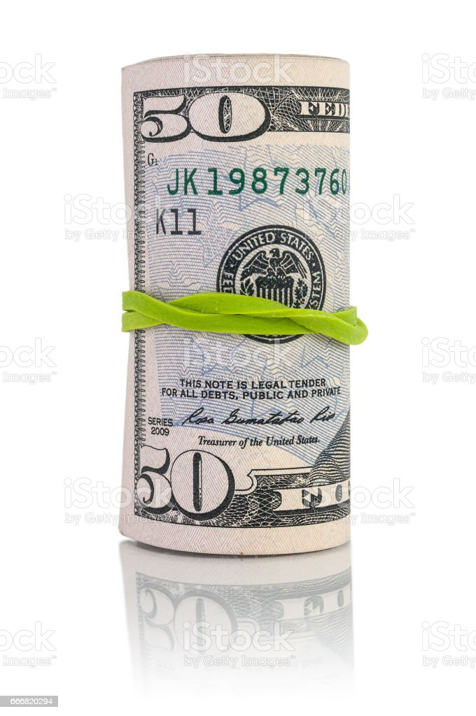 Fifty dollar money roll stock photo