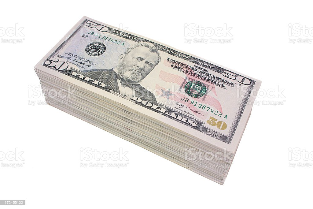 Fifty Dollar Stack stock photo
