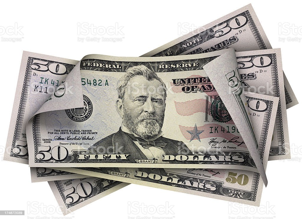 Fifty Dollars banknotes stock photo